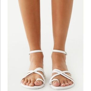 Forever 21 Shoes - Faux leather white strappy sandal